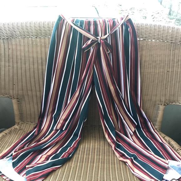 Myesper Apparel Pants - Myesper Apparel 1x wide leg boho striped pants